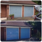 before and after photo repainted blue garage doors